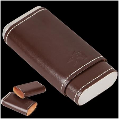 Bao da đựng Cigar (xì gà) Xikar loại 3 điếu màu nâu cao cấp - Mã SP: 243CN