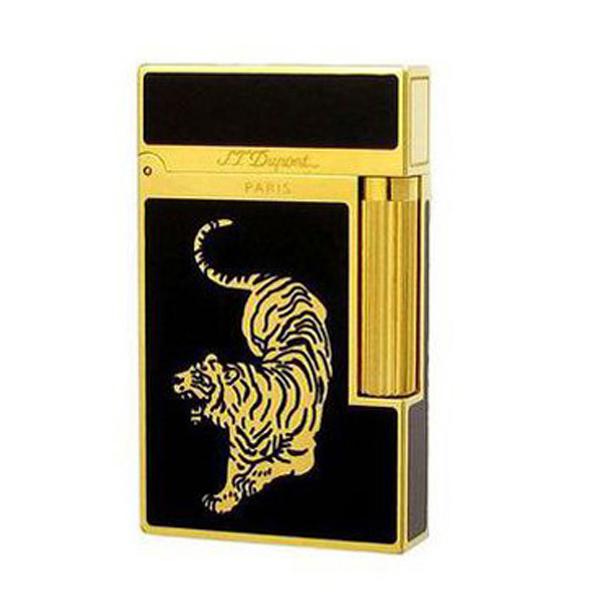 Bật lửa S.T.Dupont sơn mài đen viền vàng hoa văn con hổ vàng - 0988 00 11 31