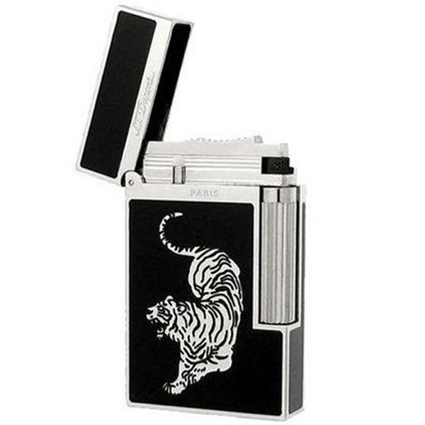Bật lửa S.T.Dupont sơn mài đen viền bạc hoa văn con hổ bạc - 0988 00 11 31