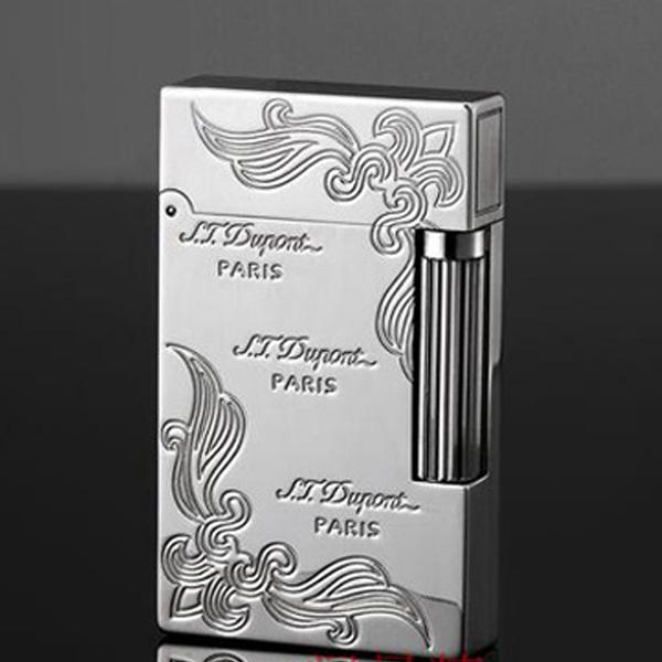 Bật lửa S.T.Dupont màu trắng hoa văn 2 góc khắc chữ S.T.Dupont Paris - 0988 00 11 31