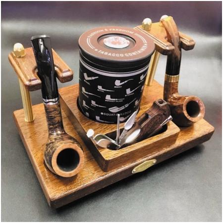 Giá để tẩu bằng gỗ loại đôi, Kệ đôi để tẩu gỗ hút thuốc sợi YJA12003