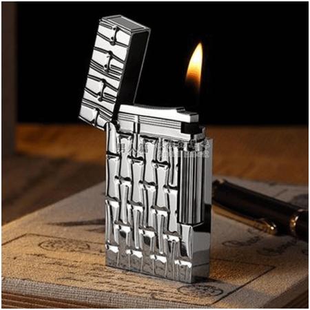 Bật lửa S.T.Dupont màu trắng bạc hoa văn ống trúc - Mã SP: BLD169