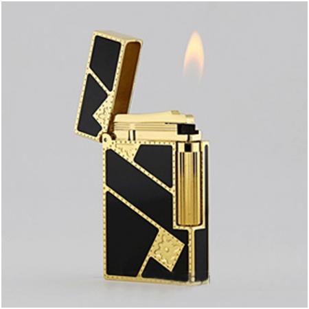 Bật lửa S.T.Dupont sơn mài đen viền vàng hoa văn ô vuông - Mã SP: BLD172