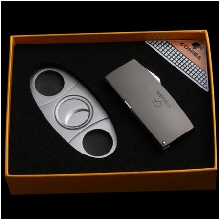 Set bật lửa hút Cigar (xì gà), dao cắt Cigar Cohiba chính hãng - Mã SP: T01