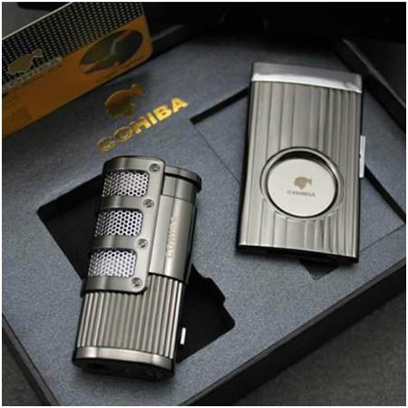 Set bật lửa hút Cigar (xì gà), dao cắt Cigar Cohiba chính hãng - Mã SP: T02