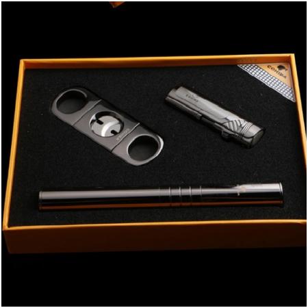 Set dao cắt Cigar, bật lửa hút Cigar, ống đựng Cigar Cohiba - Mã SP: T9