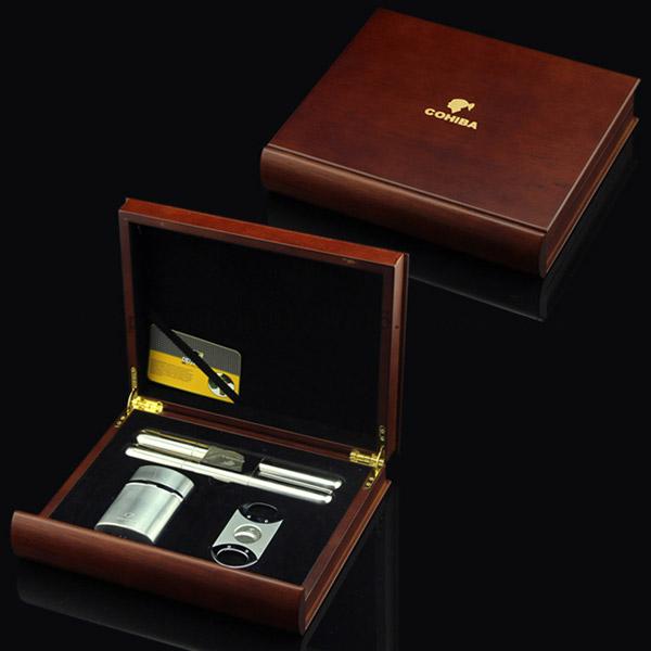Set ống đựng Cigar, bật lửa khò hút Cigar, dao cắt Cigar Cohiba chính hãng - 0988001131