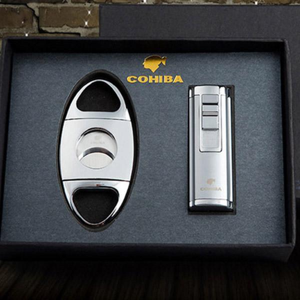 Set bật lửa khò hút Cigar, dao cắt Cigar Cohiba chính hãng - 0988 00 11 31
