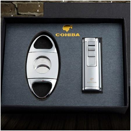 Set bật lửa khò hút Cigar (xì gà), dao cắt Cigar Cohiba chính hãng - Mã SP: T6