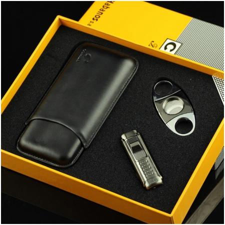 Set bao da Cigar (xì gà), bật lửa Cigar, dao cắt Cigar Cohiba chính hãng - Mã SP: T8