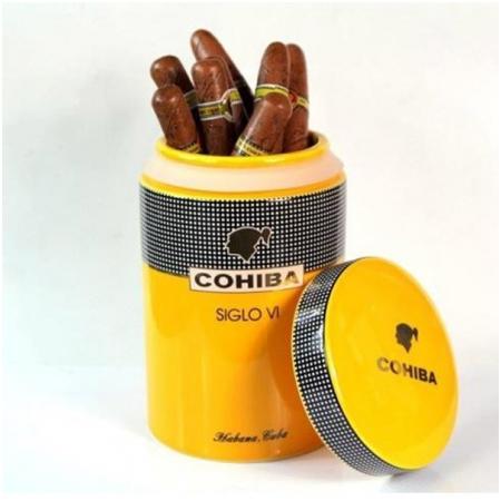 Ống đựng Cigar (xì gà) Cohiba chính hãng màu vàng chất liệu gốm sứ - Mã SP: D008