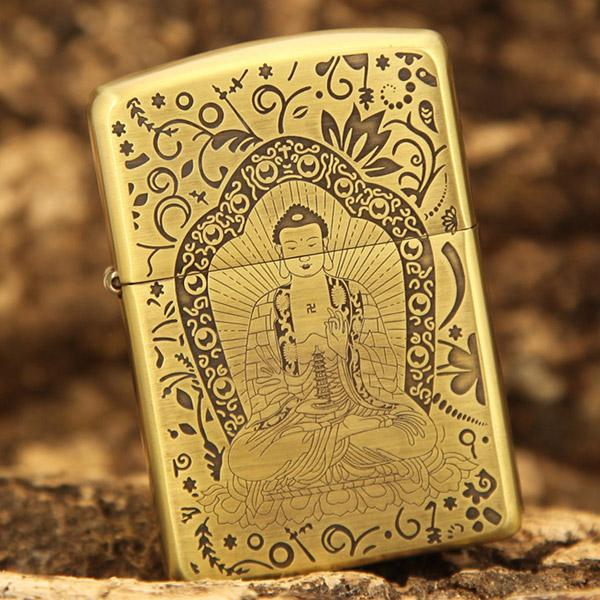 Bật lửa Zippo Mỹ màu đồng khắc hình phật Như Lai - 0988 00 11 31
