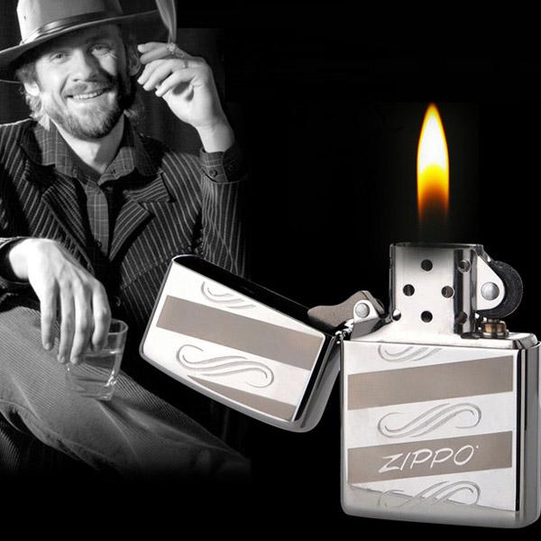 Bật lửa Zippo Mỹ khắc chữ Zippo sọc nâu trắng ngang - 0988 00 11 31