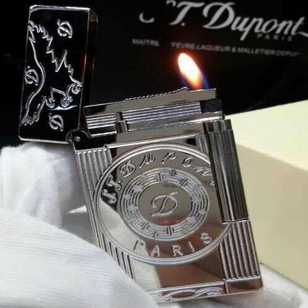 Bật lửa S.T.Dupont trắng bạc hoa văn tròn khắc chữ D