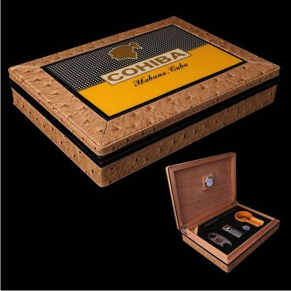 Set hộp giữ ẩm Cigar, gạt tàn Cigar, bật lửa Cigar, dao cắt Cigar - 0988001131