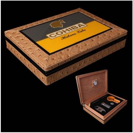 Set hộp giữ ẩm Cigar (xì gà), gạt tàn Cigar, bật lửa Cigar, dao cắt Cigar - Mã SP: T12C