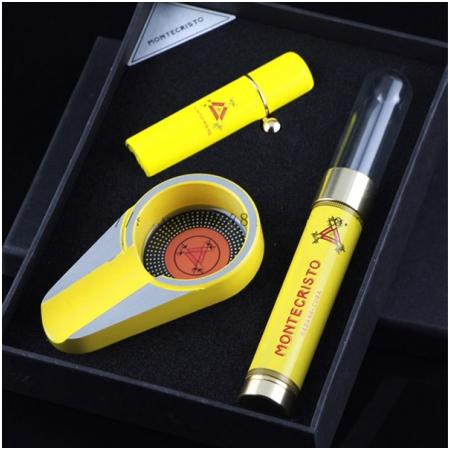 Set gạt tàn Cigar (xì gà), bật lửa khò Cigar, ống đựng Cigar Cohiba - Mã SP: T24
