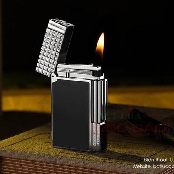 Bật lửa S.T.Dupont sơn mài đen viền trắng nắp vân kim cương - 0988 00 11 31