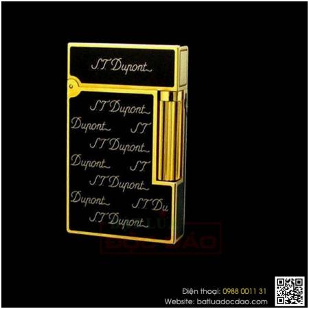 Bật lửa S.T.Dupont sơn mài đen viền vàng khắc nhiều chữ S.T.Dupont - Mã SP: BLD125