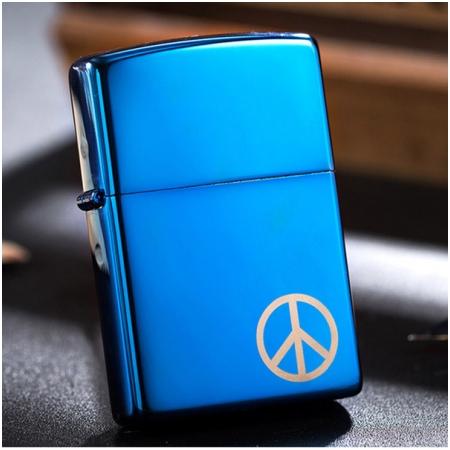 Bật lửa Zippo Mỹ màu xanh gương đá - Mã SP: Z076