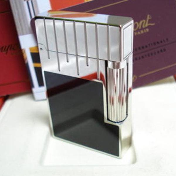 Bật lửa S.T.Dupont sơn mài đen viền và nắp trắng bạc - 0988 00 11 31