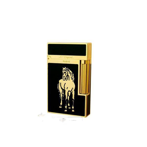 Bật lửa S.T.Dupont sơn mài đen hoa văn ngựa vàng - 0988 00 11 31