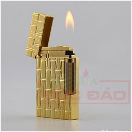 Bật lửa S.T.Dupont màu vàng hoa văn hình ống trúc - Mã SP: BLD177