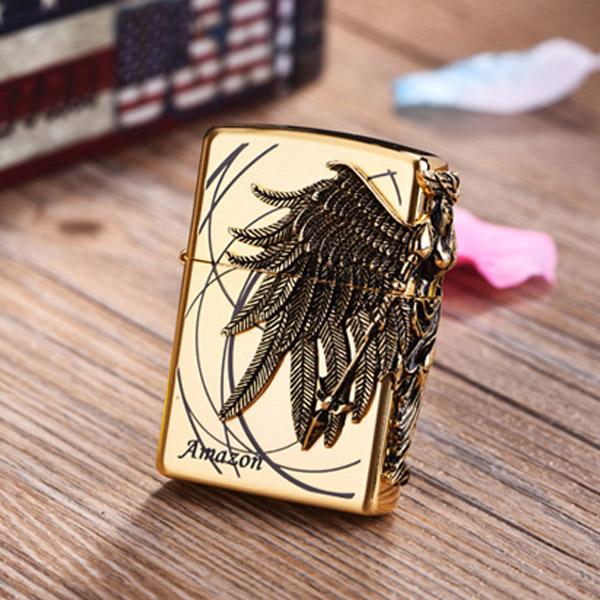 Bật lửa Zippo Mỹ màu vàng hình cánh thiên thần - 0988 00 11 31