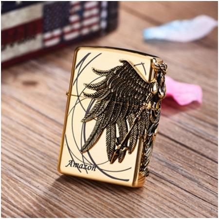 Bật lửa Zippo Mỹ màu vàng hình cánh thiên thần - Mã SP: Z080