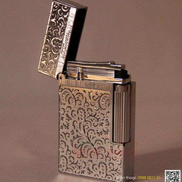 Bật lửa S.T.Dupont trắng bạc hoa văn hoa lá tinh xảo  - 0988 00 11 31
