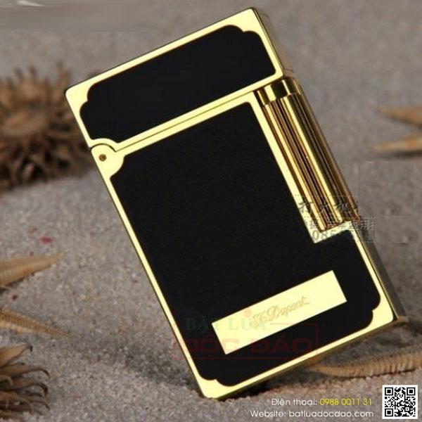 Bật lửa S.T.Dupont sơn mài đen viền vàng khắc chữ S.T.Dupont - 0988 00 11 31