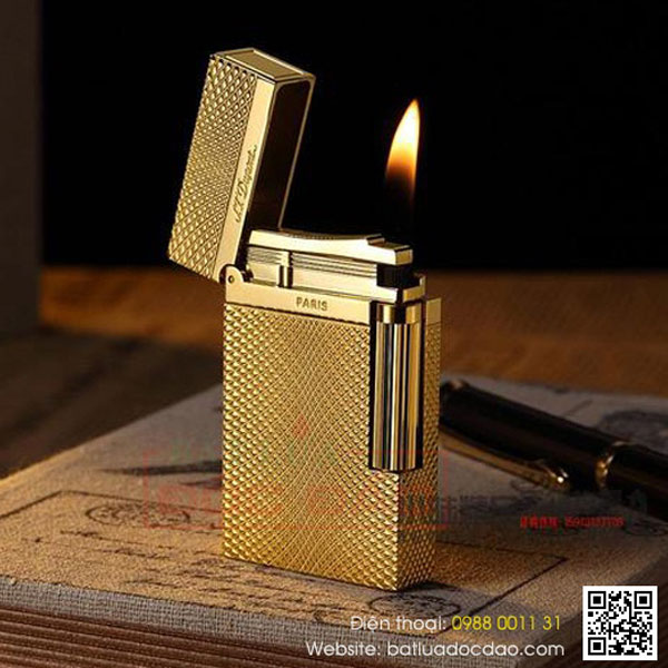 Bật lửa S.T.Dupont màu vàng kẻ caro lượn sóng- 0988 00 11 31