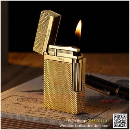 Bật lửa S.T.Dupont màu vàng kẻ caro lượn sóng- Mã SP: BLD145