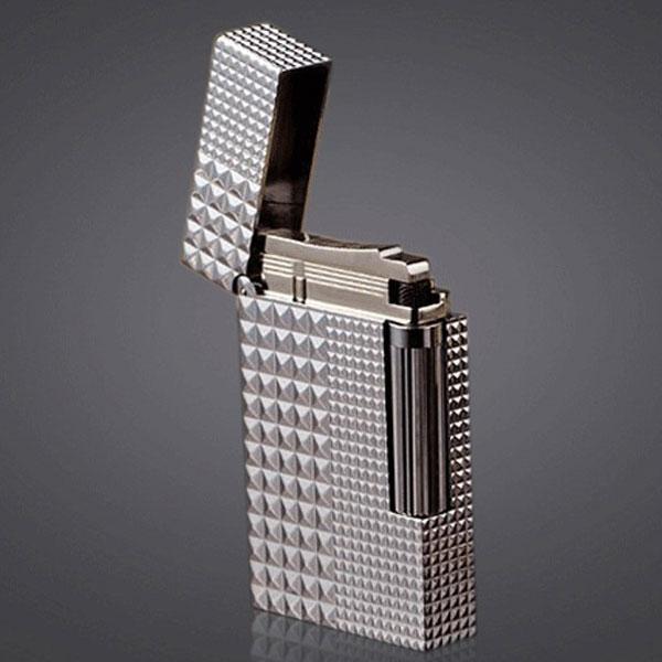 Bật lửa S.T.Dupont màu trắng bạc vân kim cương to nhỏ - 0988 00 11 31