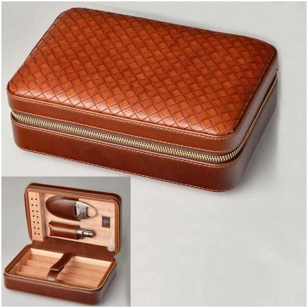 Set hộp giữ ẩm xì gà 4 điếu có dao cắt và bật lửa Lubinski Mã SP: S003