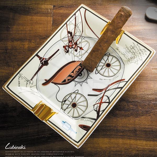 Gạt tàn xì gà (cigar) 2 điếu gốm sứ Lubinski cao cấp - 0988001131