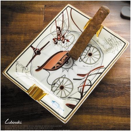 Gạt tàn xì gà (cigar) 2 điếu gốm sứ Lubinski cao cấp- Mã SP: A430