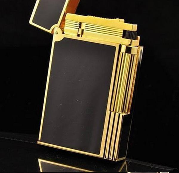 Bật lửa ST.Dupont sơn mài đen viền vàng vát cạnh - 0988 00 11 31