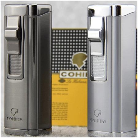 Bật lửa khò hút Cigar (xì gà) Cohiba chính hãng loại 3 tia lửa có thiết bị đục Cigar - Mã SP: BLH004