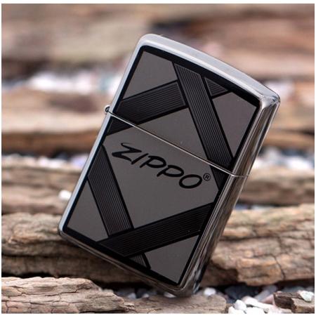 Bật lửa Zippo Mỹ băng đen in chữ Zippo ở giữa - Mã SP:  Z099