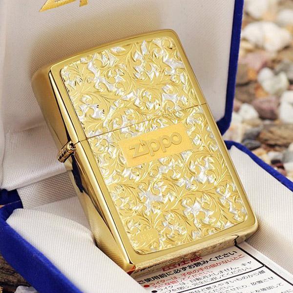 Bật lửa Zippo Mỹ màu vàng hoa văn hoa lá - 0988 00 11 31