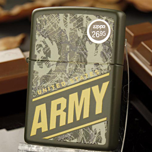 Bật lửa Zippo Mỹ màu xanh lá cây ngụy trang quân đội Mỹ - 0988 00 11 31