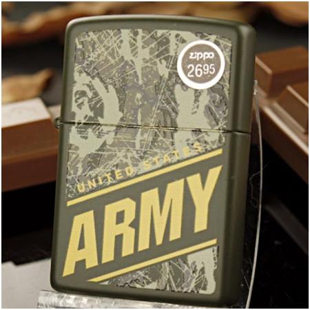 Bật lửa Zippo Mỹ màu xanh lá cây ngụy trang quân đội Mỹ - Mã SP: Z105