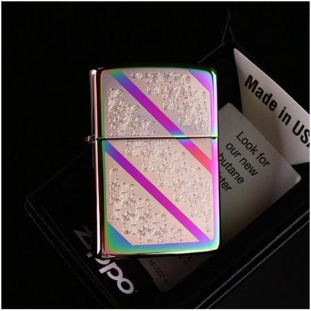 Bật lửa Zippo Mỹ băng màu khắc hoa - Mã SP: Z108