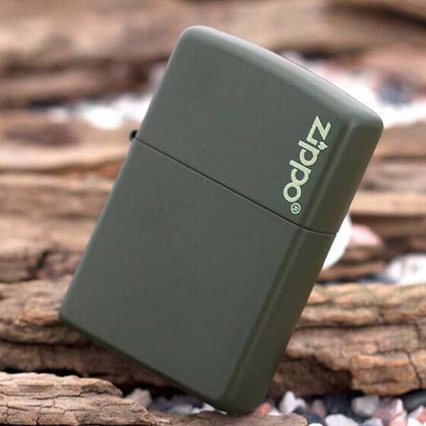 Bật lửa Zippo Mỹ màu xanh bộ đội khắc chữ Zippo - 0988 00 11 31