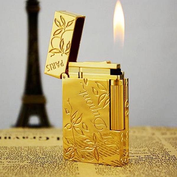 Bật lửa S.T.Dupont gold trơn hoa văn lá khắc chữ S.T.Dupont -  0988 00 11 31