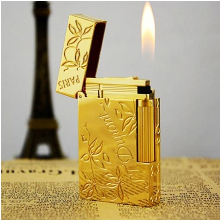 Bật lửa S.T.Dupont gold trơn hoa văn lá khắc chữ S.T.Dupont - Mã SP: BLD010