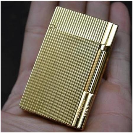 Bật lửa S.T.Dupont gold sọc đứng khắc chữ S.T.Dupont bên hông- Mã SP: BLD094