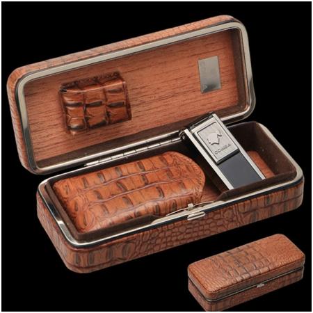 Set hộp đựng cigar, bật lửa hút Cigar (xì gà) chính hãng Cohiba - Mã SP: H515