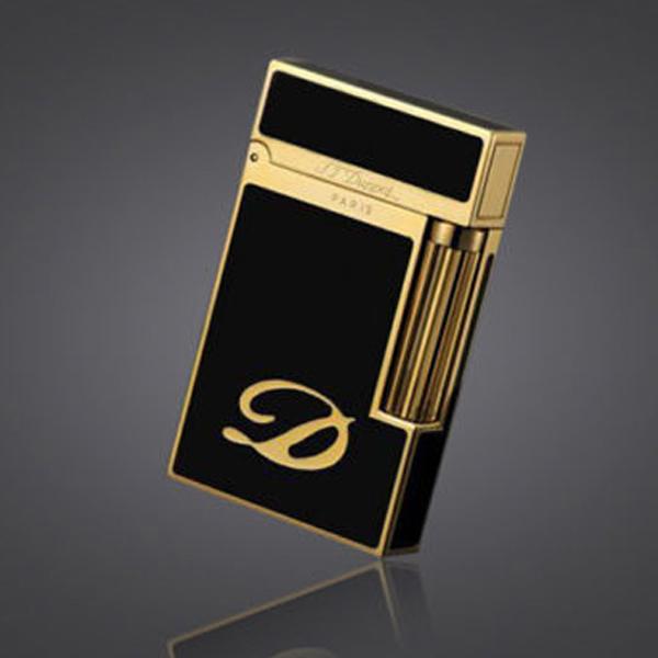 Bật lửa S.T.Dupont sơn mài đen viền vàng khắc chữ D - 0988 00 11 31